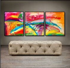 "'Colorful Thoughts'  - 48"" X 20"" Original Paintings . Free shipping within USA & 30 day return policy. - Lulus Gallery - 1"