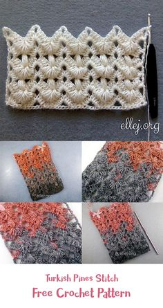 Turkish pines stitch free crochet pattern crochet crafts homedecor handmade style idea quick and easy crochet hair clips a free tutorial Bag Crochet, Crochet Motifs, Crochet Home, Crochet Crafts, Crochet Stitches, Crochet Projects, Free Crochet, Stitch Patterns, Knitting Patterns