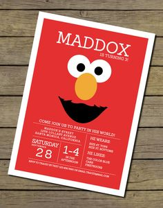 Elmo Invitation Elmo Invite Elmo Birthday by CharlesAlexDesign, $15.00