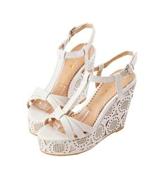Grace giftGrace gift 官方購物網站 - 甜美幾何激光楔型涼鞋