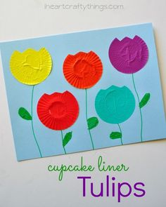 Tulip Craft for Kids made out cupcake liners from http://iheartcraftythings.com.