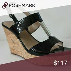 """Arturo Chiang Women's Shoe CONDITION -  NEW WITH ORIGINAL BOX, NEVER WORN COLOR - BLACK PATENT GOAT MATERIALS- PATENT GOAT LEATHER UPPER ADJUSTABLE SLINGBACK STRAP WITH BUCKLE CLOSURE OUTSOLE WITH ARTURO CHIANG LOGO IMPRINT 4.25"""" COVERED WEDGE PLATFORM STYLE NAME - AT-PERI Shoes Heels"""