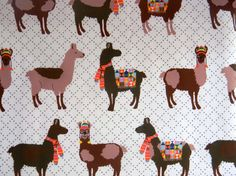 "I NEED THIS IN MY LIFE. Never mind the whole non-sewists thing. ""Oh La Llama"" fabric from scarletfig.etsy.com- $8.50"
