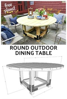 A DIY tutorial to build a round outdoor dining table with free plans.