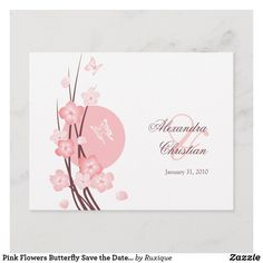 Shop Pink Flowers Butterfly Save the Date Announcement created by Ruxique. Postcard Wedding Invitation, Wedding Invitations, Butterfly Design, Blossom Flower, Egg Shells, Text Color, Flower Cards, Postcard Size, Save The Date
