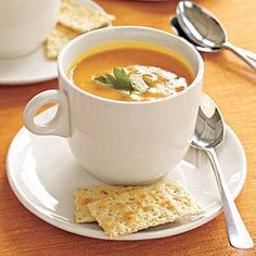 Spicy Pumpkin Soup Recipe | MyRecipes.com..sub the oil