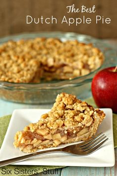 The best Dutch Apple Pie Recipe you will ever make. Brown sugar cookie crust filled with a homemade apple pie filling and covered in a crumble topping. Apple Pie Recipes, Dutch Recipes, Fall Recipes, My Recipes, Sweet Recipes, Dessert Recipes, Cooking Recipes, Favorite Recipes, Apple Pies
