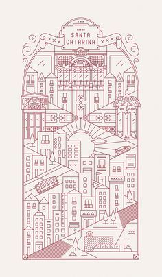 A love letter to Porto in the form of a series of 6 intricate and detailed illustrations about the city of Porto and it's most recognizable areas. Love Letters, Behance, Graphic Design, Flat, Lettering, Sewing, My Love, Logos, City
