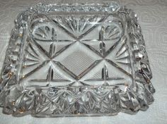 """Heavy Crystal or Pressed Glass Ash Tray Very Nice Condition Ashtray EAPG 5.75"""""""
