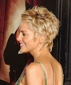 layered hair A Sharon Stone style Shaggy Short Hair, Short Shag Hairstyles, Short Curly Hair, Short Hairstyles For Women, Hairstyles Haircuts, Curly Hair Styles, Layered Hairstyles, Short Haircuts, Celebrity Hairstyles