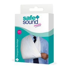 Safe & Sound Health Triangular Bandage. A strong bandage used to provide support to arms. Dimensions: 127cm x 90cm.