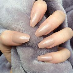 Mocha Gloss Coffin popular nail shape
