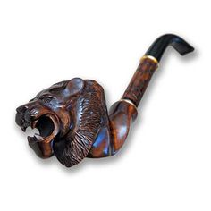 Tobacco Pipe Pipes Smoking Wooden Pipe. Lion Head Wood by GeromeSM, $52.99 @Gerome SM