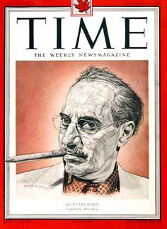 1951 original vintage Time magazine cover featuring comdian Groucho Marx. Classic Comics, Classic Tv, Time Magazine, Magazine Covers, Brothers Movie, Groucho Marx, Mary Tyler Moore, Remember The Time, Comedy Films