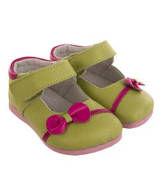 Green & Pink Cupid's Bow Leather Mary Jane #zulily #zulilyfinds