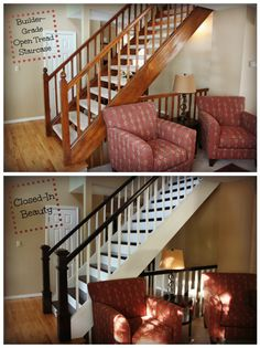 DIY Stairway Makeover. Foyer. Open tread stairway remodel before and after. I closed in the open tread stairs with dark oak treads and white risers. I stained the banister and painted the spindles. Added new newel posts. Open tread staircase.