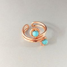 Adjustable Copper Turquoise Jasper Wire Wrap Finger Toe Ring - Lexi Butler Designs