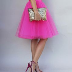 Hot pink tulle skirt, glittery clutch & strappy heels