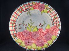 Laurie Gates Ware Blue Floral Daises Hydrangeas Flowers Dinner Plate | eBay