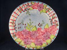 Laurie Gates Ware Blue Floral Daises Hydrangeas Flowers Dinner Plate | eBay