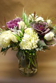 ornamental cabbage in an arrangement. So pretty Graduation Flowers, Graduation Gifts, Flowering Kale, Ornamental Cabbage, Flower Market, Clay Pots, Fall Harvest, Floral Bouquets, Seasonal Decor