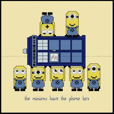 Minions Have The Phone Box Cross Stitch - PDF Pattern - Despicable Me / Doctor Who mashup - INSTANT Download by FangirlStitches on Etsy