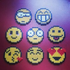 Emoticons perler beads by sclumpfine