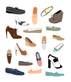 Selected illustrations from 20 Ways to Draw a Shoe, published by Quarry  Books / Rockport