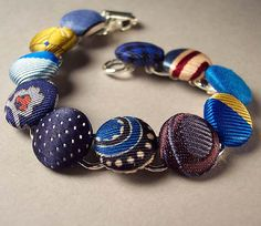 blue button bracelet by tigerlillyshop, via Flickr - repurposed ties