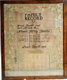 Needlework Sampler - Family Record