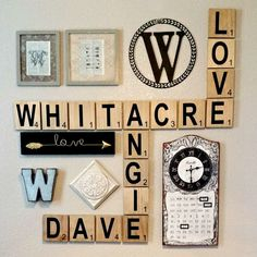Large Scrabble Tile Wall Art - Original Rustic Stain