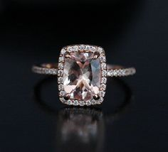 Cushion Morganite Engagement Ring Pink by Twoperidotbirds on Etsy