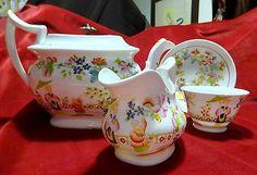 Museum-Qual-Antique-Pearlware-English-Porcelain-Teapot-Part-Set-Chinoiserie