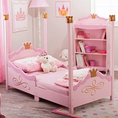 Comfy KidKraft Princess Girl Toddler Bed Design Offers Pink Finish with Gold Leaf Details and Constructed from Strong also Durable Wood. #ToddlerBed #Netnoot #Furniture
