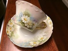 "Lovely Limoges France ""Hand Painted Signed"" Demitasse Cup & Saucer Daisy Flowers"