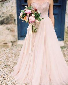 Edgy design blush wedding dress