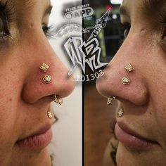 Here's a shot of some healed nostril piercings underneath some freshly done high nostril piercings, all done by the mayor of piercerville himself, @johnnyvelez. Two 18g yellow gold Tama ends housing a cz in the healed nostrils, and two 18g yellow gold Kira ends also housing a cz in the high nostrils, all from @anatometalinc. Thanks @emily_woods88  (at Native Rituals Tattoo and Party Emporium)