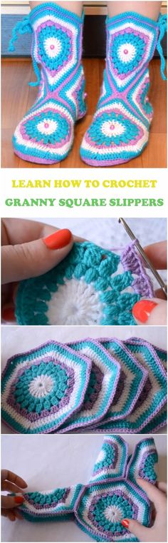 Learn To Crochet Granny Square Slippers