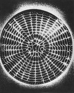 Sound frequencies in this experiment cause random particles to assume geometric patterns (Lawlor, Robert. 1982. Sacred Geometry. Thames & Hudson, London)