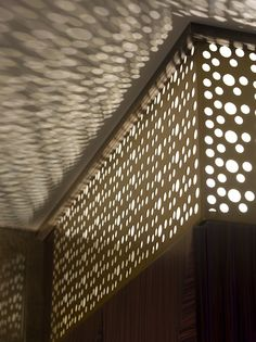 light shining through cut pattern screen.ESPA spa located in the Istanbul EDITION hotel.