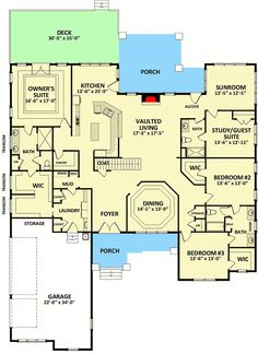 ❤️I LIKE THIS TOO---Craftsman House Plan with Sunroom - 46313LA   1st Floor Master Suite, Bonus Room, Butler Walk-in Pantry, CAD Available, Corner Lot, Craftsman, Den-Office-Library-Study, Jack & Jill Bath, Media-Game-Home Theater, Northwest, PDF, Southern, Split Bedrooms, Traditional   Architectural Designs