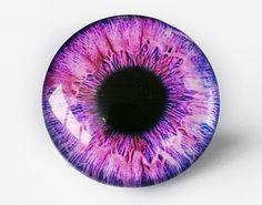 30mm handmade glass eye cabochon - pink/purple eye