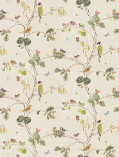 Woodland Chorus  in cream, a feature wallpaper from Sanderson, featured in the Woodland Walk collection.
