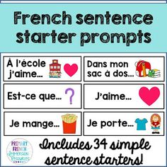Primary French Immersion Resources: Building sentences with new sentence starters