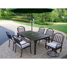 Oakland Living Rochester 67 x 40 in. Patio Dining Set with 2 Swivel Chairs and Cantilever Umbrella
