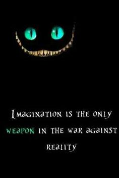 Cheshire is right: Imagination is the only weapon in the war against reality...
