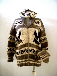 Vintage 50s 60s Cowichan Sweater with Matching by OmAgainVintage - BEAUTIFUL