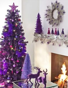 Deep Purple Christmas Colors, 25 Ways to Add Ultra Violet Accents to Your Holiday Decor Purple Christmas Decorations, Purple Christmas Tree, Noel Christmas, Christmas Colors, Xmas Tree, All Things Christmas, Winter Christmas, Tree Decorations, Christmas Tables