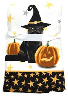 Set Of 2 Halloween Witch Pumpkin Wicked Holiday Kitchen Hand Tea Towel Cloth
