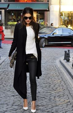 white sweater + black leather skinnies